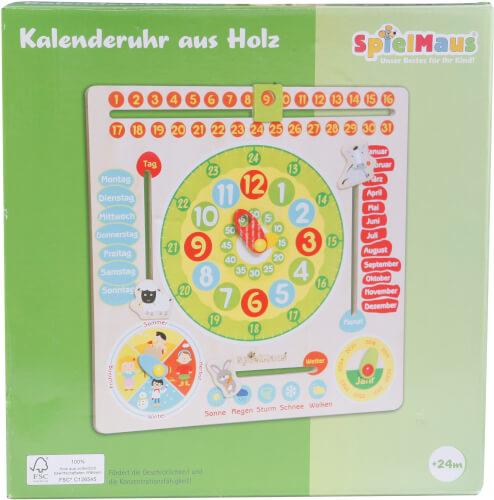 SpielMaus Holz Kalenderuhr aus Holz, ca. 30x30x3,5 cm, ab 24 Monaten