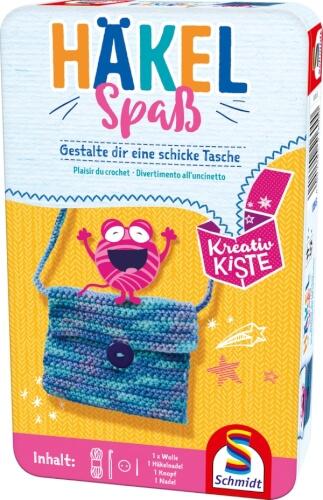 Schmidt Spiele 51600 Kreativ Kiste Häkelspaß, Bring-Mich-Mit in der Metalldose, ab 7 Jahre