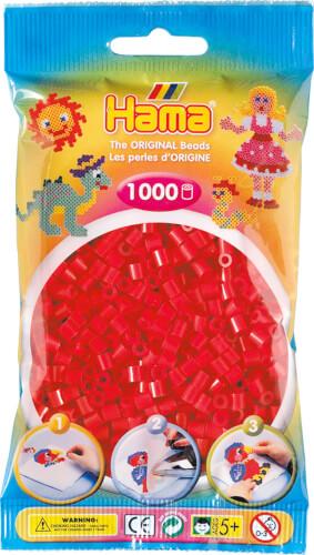 HAMA 207-05 Bügelperlen Midi, rot, 1.000 Stück, ab 5 Jahren