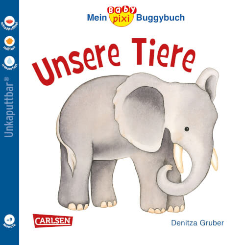 Buch ''Baby Pixi - Band 44: Mein Baby-Pixi Buggybuch: Unsere Tiere'', 16 Seiten, ab 9 Monate