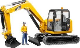 Bruder 02466 Cat Minibagger mit Bauarbeiter