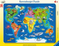 Ravensburger 06641 Rahmepuzzle Weltkarte mit Tieren 30 Teile