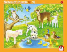 2er Set Rahmenpuzzles Kuschelige Tierfreunde 16 Teile/Niedliche Tierkinder 24 Te