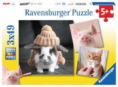 Ravensburger 08028 Puzzle Süße und lustigeTierfotos 3x49 Teile