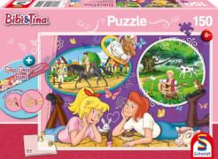 Schmidt Spiele Puzzle Bibi und Tina Freundinnnen für immer 150 Teile mit Slap-Snap-Band