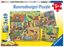 Ravensburger 05078 Puzzle Viel los auf dem Bauernhof 3x49 Teile