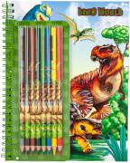 Dino World Malbuch mit Buntstiften